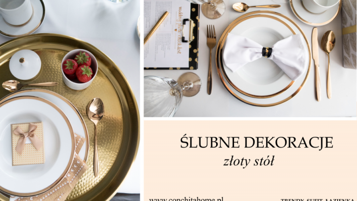 ŚLUBNE DEKORACJE: stół skąpany w złocie